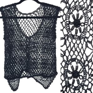 Vintage Beaded Open Crochet Lace Vest Handmade